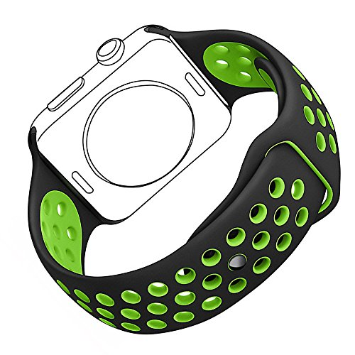Apple Watch Sport Band, Bandmax Lightweight Comfortable TPU Replacement Strap for Apple Watch Series 1/ Series 2 42MM Sport Accessories (Black/Volt Green)
