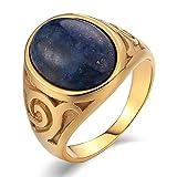 KnBoB Edelstahl Herren-Ring Gold Edelstahl Herren Ringe mit Muster Oval Dunkelblau Opal Retro Ring Gold Partnerring Gr.60 (19.1)