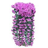 Lazzboy Hängende Silk Orchidee blüht künstliche Violette Blumen-Wand-Glyzinien-Korb-hängende Garland Vine Flowers-Fälschung(E)