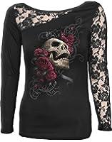 Spiral - Women - ROSE SKULL - Lace One Shoulder Top Black