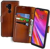 Suncase Book-Style kompatibel für LG G7 ThinQ Hülle (Slim-Fit) Leder Tasche Handytasche Schutzhülle Case (mit Standfunktion und Kartenfach - Bruchfester Innenschale) in Burned - Cognac