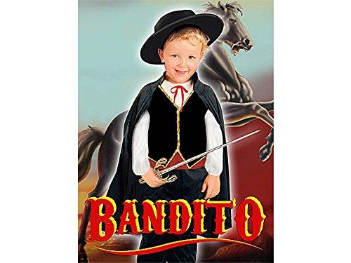 Blumen Paolo 61337.3-4-Bandito Kostüm Kinder, schwarz, - Bandito Kinder Kostüm