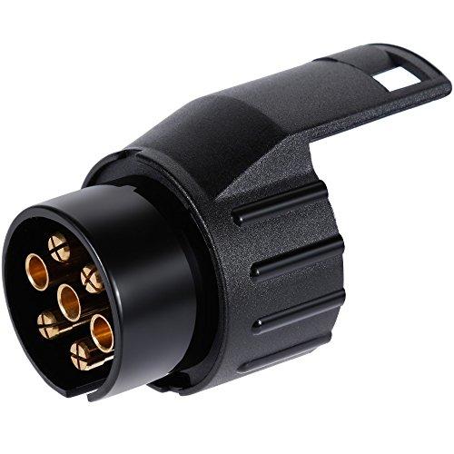 Anpro Adapter für PKW, Anhänger Adapter 7 auf 13 Polig Auto anhängerkupplung pkw anhänger zubehör Schwarz, EINWEG
