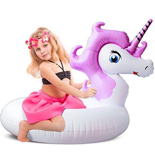 Leeron Schwimmring Einhorn  für Kinder Kleines Aufblasbarer Luftmatratze für Pool Party Strand (Mini-Violett)