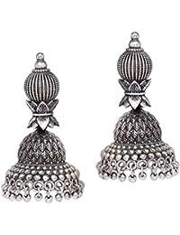 Peora Handmade Silver Oxidised Plated Jhumki Earrings Antique Jewellery for Women Girls