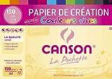 CANSON 34135 Papier Dessin Colorline Grain Fin 150g A4 Vifs Pochette Lot de 12 Blanc