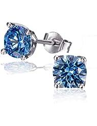 Goldmaid signity swarovski-boucles d'oreilles clous femme-argent 925/1000 rhodié avec oxyde de zirconium zircon taille ronde o7115SB fa-bleu