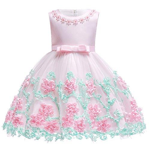 OwlFay Baby Mädchen Party Kleid Blumenmädchen Hochzeitskleid Brautjungfer Kleid Infant Kleinkind Mädchen Sleeveless Tutu Prinzessin Kleid Geburtstag Kleid Baby Taufkleid Festzug Rosa 18-24 ()