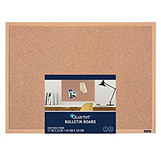 Quartet Cork Bulletin Board, 17 x 23 Inches, Oak Finish Frame (35-380342Q)
