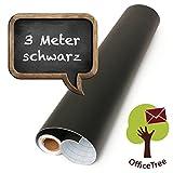 OfficeTree  film tableau noir rouleau 300 cm - autoadhésif - 43 cm de large - ardoise - écrire dessiner peindre souligner à la craie - (1 rouleau)