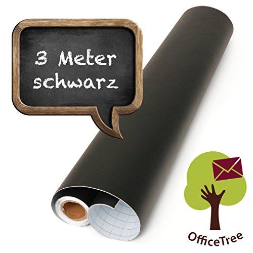 OfficeTree ® Tafelfolie schwarz 300 cm Rolle - selbstklebend - 43 cm breit - Chalkboard - Schreiben Zeichnen Malen Akzente setzen mit Kreide - Inneneinrichtung DiY Deko Präsentation - (1 Rolle)
