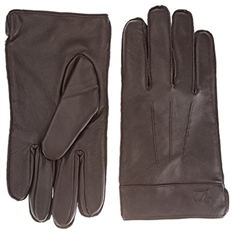 James Tyler Men's Leather Gloves with a Classic Outer Seam, brown, M