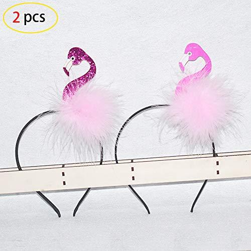 Mein HERZ 2 Stück Flamingo Haarreif Flamingo Kostüm Haarreif Karneval Fasching Junggesellinnenabschied JGA Pink Rosa Accessoire Geeignet für Mädchen von 5 bis 12 Jahren(Fuchsia und Rosa) (Pink Flamingo Kostüm)