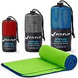 Fit-Flip Grün mit dunkelblauen Rand, 1x 200x100cm | campinghandtuch Strandtuch 200x100 mikrofaser saunatuch 200x100 Badetuch groß