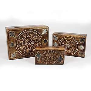 3en 1fleur lotus Boîtes–sculpté à la main en bois boîte à bijoux/Boîte de rangement en bois