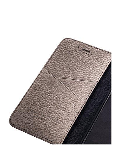 QIOTTI >              Apple iPhone 5 / 5S / SE              < incl. PANZERGLAS H9 HD+ Geschenbox Booklet Wallet Case Hülle Premium Tasche aus echtem Kalbsleder mit KARTENFÄCHER und STANDFUNKTION. Edel verpackt incl. Stoffbeute GRAU