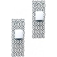 THE YELLOW DOOR Parete applique portacandele argento Arredamento Set di 2