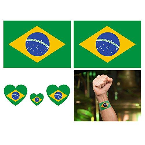 Temporäre Tattoo Aufkleber, 16-Pack wasserdicht abnehmbare Tattoos Aufkleber Fake Tattoo einfach anzuwenden und langlebig für Männer Frauen Mädchen und Jungen, Brasilien Flagge