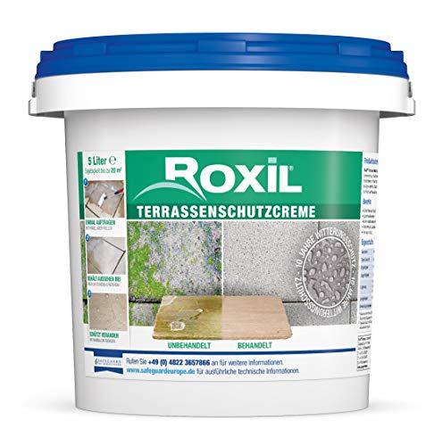 Roxil Terrassenschutzcreme - 10 Jahre Terrassenschutz und Steinversiegelung gegen Einschmutzung, Algenbildung, Moosbildung und Grünbelag - Witterungsschutz für Terrassen und Pflastersteine - 5 Liter