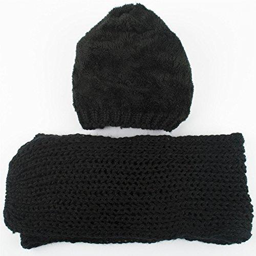 Filles Bonnet chapeau avec doublure polaire et écharpe à tricot épais set Hiver chaud Noir