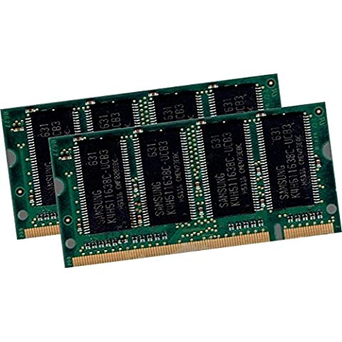 1 GB Dual Channel Kit SAMSUNG 2 x 512 MB 200 pin DDR-333 – PC-2700, 333 MHz, CL2, 5) SO-DIMM (M470L6524DU0 – CB3) doppio lato per Notebook – 100% compatibile DDR-266 (PC-2100, 266 MHz, CL2, 5)