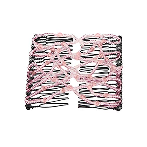 Haarbands,Sasstaids Bead Stretchy Women Hair Combs Doppelt Magic Slide Metallkamm Clip Haarnadeln
