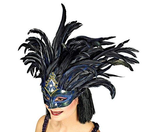 Maske blau mit schwarzen Federn Karneval Fasching Venedig (In Masken Venedig Karneval)