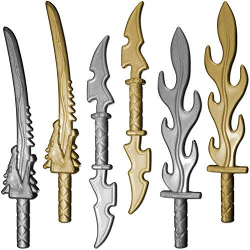 GALAXYARMS 6-teiliges Ninja Waffenset: Set 16.1 mit Drachenkopfschwert, Doppelklingenschwert und Flammenschwert. Geeignet für Deine LEGO Figuren. NEUHEIT 2016!
