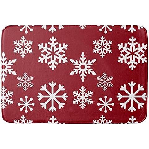whiangfsoo rojo copo de nieve Navidad alfombrilla de baño, #01, 16