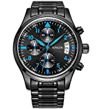 SONGDU Mens Quartz Watch with Fashion Black Stainless Steel Bracelet Casual Cool,Chronograph Analogue Display Blue Hand