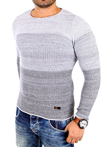Reslad Herren Pulli Männer Pullover Jungen Strickpullover O Ausschnitt Designer Pullover Pullis günstig RS-3106 Grau S