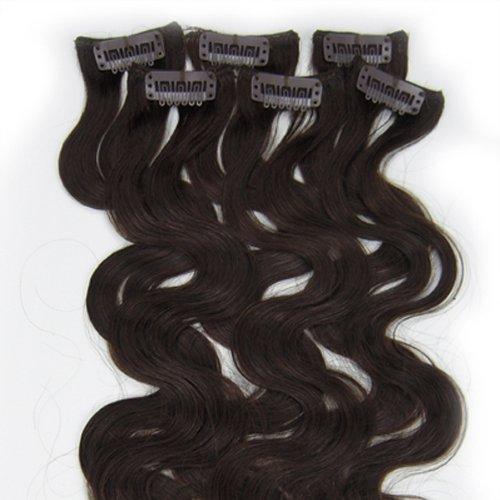 100% cheveux remy Lot de 6 50,8 cm Marron foncé (# 02) ondulés Cheveux Clip dans Extension de cheveux humains Poids : 36 G