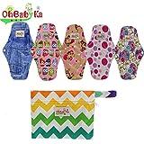 OHBABYKA Bamboo Reusable Sanitary Napkins Pads, A Wet Dry Bag for Women