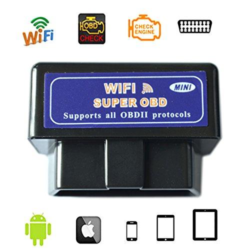 WildAuto Outil de diagnostic OBD Lecteur de codes défauts pour véhicule Efface le voyant moteur allumé | Compatible APPLE version Wi-Fi (Nior)