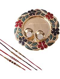 Mela Rakshabandhan Multicoloured Plastic Rakhi with Decorative Pooja Plate and Kumkum Chawal for Men/Boys - Set Of 3