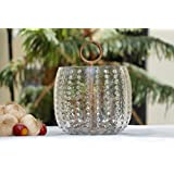 ATTRACTIVE DOT GLASS TEA LIGHT CANDLE HOLDER WITH COMPLIMENTARY TEALIGHTS