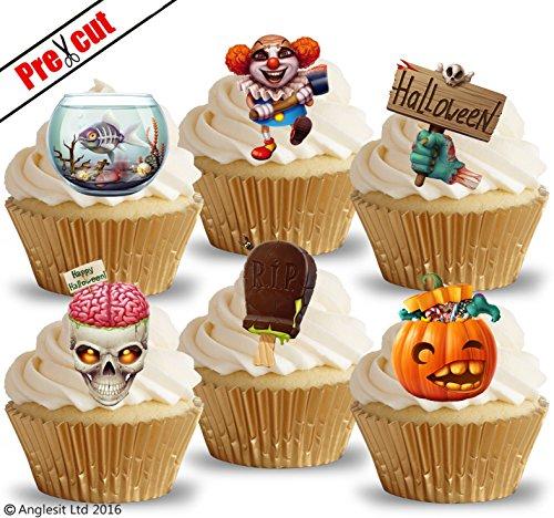 vorgeschnittenen Creepy Halloween Mix essbarem Reispapier/Waffel Papier Cupcake Kuchen Topper Halloween Gothic Party Dekorationen