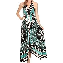 Sakkas 161457 - Aleayma largo sin tirantes ajustables del grano bordado teñido cabestro vestido superior - Menta - OS