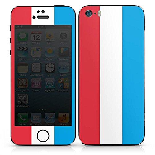 Apple iPhone 5 Case Skin Sticker aus Vinyl-Folie Aufkleber Luxemburg Flagge Fahne DesignSkins® glänzend