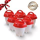 6pcs Egg Cooker Set Non-stick Silicone Egg Cups for Soft & Hard Boiled Eggs