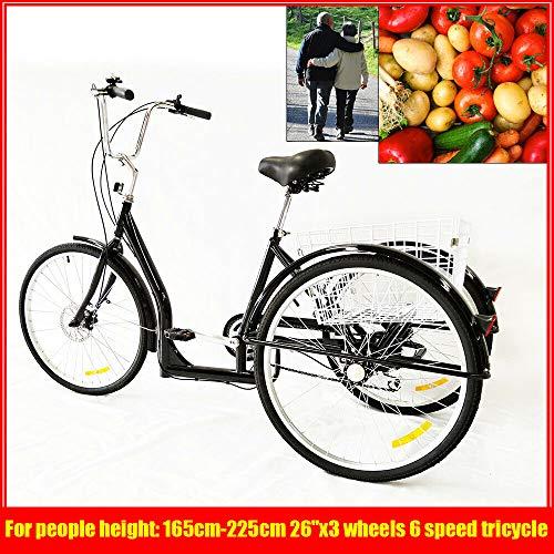 BTdahong 26 Zoll 3 Räder 6 Speed Dreirad für Erwachsene Cruiser Fahrrad Senioren Einkaufs Lastenfahrrad mit Korb + Sattel Flexibel Schwarz für Freizeit Reisen (Warenkorb-geschenk-korb)