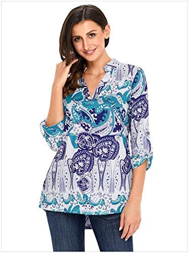 szivyshi Manches 3/4 Rolled Sleeve Stand Col Encolure en V Ourlet Plongeant Baroque Ethnique Tribal Imprimé Blouse Chemisier Shirt Chemise Haut Top Violet Vert Paisley