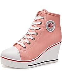 Kivors Sneaker Donna Zeppa Alte Donna Scarpe Tela in Alte Zeppa Interna Zip 9  CM Allacciate Donna Ginnastica Sport Tela Lacci in Canvas… d3f947f72ac