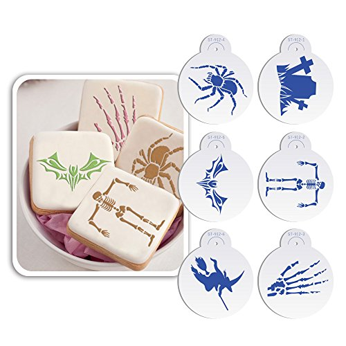 Art Geschirr 6 Halloween Totenkopf, Spider, Grab, Hexe Cookie Schablone, Set, Zuckerguss-Royal Werkzeug Cupcake Top Dekoration Form st-912 beige/halbtransparent