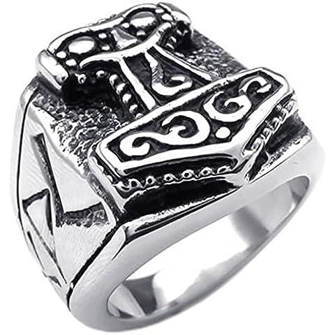 KONOV Joyería Anillo de hombre, Martillo de Thor, Acero inoxidable, Color negro plata (con bolsa de regalo)