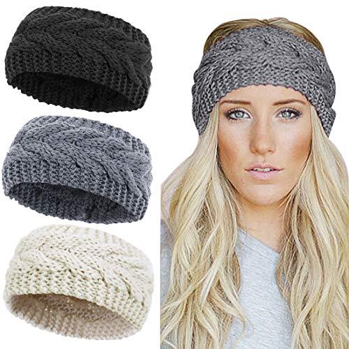 KQueenStar Damen Gestrickt Stirnband -1/2/3/4 Stück Elastische Häkelarbeit Headwrap Design Stirnbänder Winter Kopfband Haarband Crochet Headwrap Ohr Wärmer, Schwarz+hellgrau+beige, Einheitsgröße -