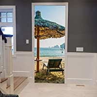 KNFLURNN Style Door Decor Stickers For Study Room Bedroom 3D Sea Beach Chair Umbrella Mural Vinyl Poster Adhesive Wallpaper