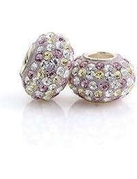 Andante-Stones - original, plata de ley 925 sólida, cuenta de cristal rosa-beige-blanco, elemento bola para cuentas European Beads + saco de organza