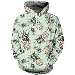 AIDEAONE Frauen Männer 3D Print Ananas Fleece Pullover Long Sleeve Pullover Hoody