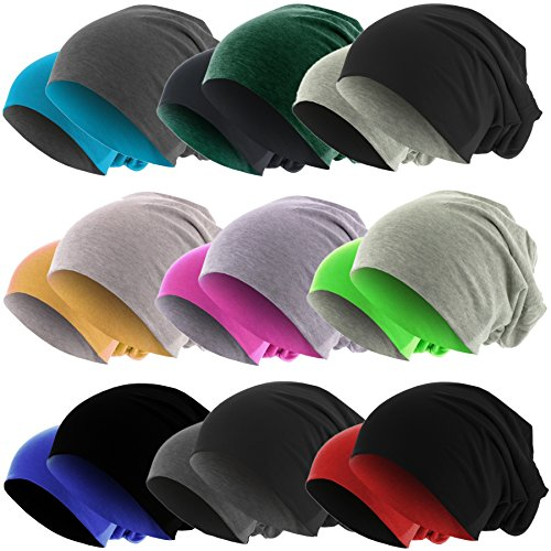 Slouch Long Beanie Reversible Strickmütze 2 in 1 Wintermütze in 48 Farben (orange /...